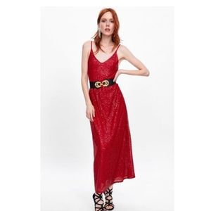 Zara Red Sequin Maxi Dress